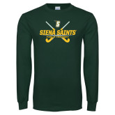 Dark Green Long Sleeve T Shirt-Field Hockey Crossed Sticks