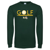Dark Green Long Sleeve T Shirt-Golf Ball Design