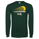 Dark Green Long Sleeve T Shirt-Modern Lacrosse Design