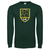 Dark Green Long Sleeve T Shirt-Soccer Shield Design