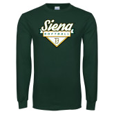 Dark Green Long Sleeve T Shirt-Softball Plate Design
