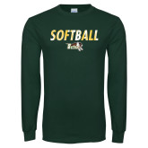 Dark Green Long Sleeve T Shirt-Distressed Softball