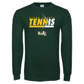 Dark Green Long Sleeve T Shirt-Tennis Abstract Net