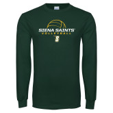 Dark Green Long Sleeve T Shirt-Volleyball Ball Design