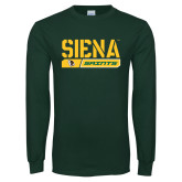 Dark Green Long Sleeve T Shirt-Siena Saints Bar Design