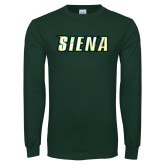 Dark Green Long Sleeve T Shirt-Siena Distressed