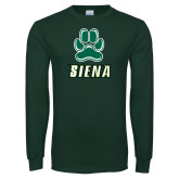 Dark Green Long Sleeve T Shirt-Siena w/Paw