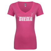 Next Level Ladies Junior Fit Deep V Pink Tee-Siena