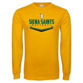 Gold Long Sleeve T Shirt-Baseball Plate Design