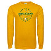 Gold Long Sleeve T Shirt-Basketball Court Design