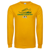 Gold Long Sleeve T Shirt-Cross Country Shoe Design