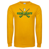 Gold Long Sleeve T Shirt-Field Hockey Crossed Sticks