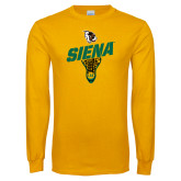 Gold Long Sleeve T Shirt-Lacrosse Stick Design