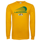 Gold Long Sleeve T Shirt-Modern Lacrosse Design