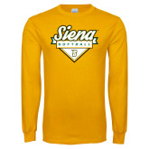 Gold Long Sleeve T Shirt-Softball Plate Design