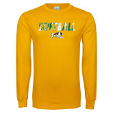 Gold Long Sleeve T Shirt-Distressed Softball