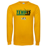 Gold Long Sleeve T Shirt-Tennis Abstract Net