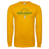Gold Long Sleeve T Shirt-Volleyball Ball Design