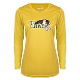 Ladies Syntrel Performance Gold Longsleeve Shirt-Official Logo