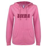 ENZA Ladies Hot Pink V Notch Raw Edge Fleece Hoodie-Siena Hot Pink Glitter