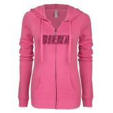 ENZA Ladies Hot Pink Light Weight Fleece Full Zip Hoodie-Siena Hot Pink Glitter