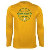 Performance Gold Longsleeve Shirt-Basketball Court Design