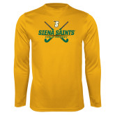 Performance Gold Longsleeve Shirt-Field Hockey Crossed Sticks