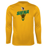 Syntrel Performance Gold Longsleeve Shirt-Lacrosse Stick Design