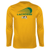 Performance Gold Longsleeve Shirt-Modern Lacrosse Design