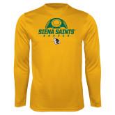 Performance Gold Longsleeve Shirt-Soccer Ball Design
