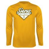 Performance Gold Longsleeve Shirt-Softball Plate Design