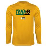 Performance Gold Longsleeve Shirt-Tennis Abstract Net