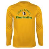 Performance Gold Longsleeve Shirt-Cheerleading Script Design