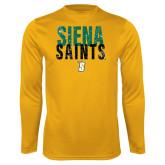 Performance Gold Longsleeve Shirt-Siena Saints Stacked