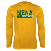 Performance Gold Longsleeve Shirt-Siena Saints Bar Design