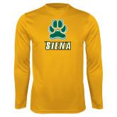 Performance Gold Longsleeve Shirt-Siena w/Paw
