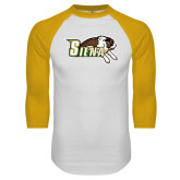White/Gold Raglan Baseball T-Shirt-Official Logo