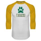 White/Gold Raglan Baseball T-Shirt-Siena w/Paw