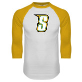 White/Gold Raglan Baseball T-Shirt-S