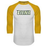 White/Gold Raglan Baseball T-Shirt-Siena