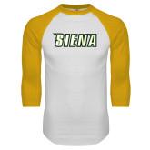 White/Gold Raglan Baseball T-Shirt-Siena