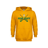 Youth Gold Fleece Hoodie-Field Hockey Crossed Sticks