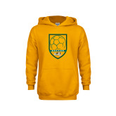 Youth Gold Fleece Hoodie-Soccer Shield Design