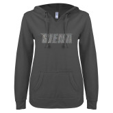 ENZA Ladies Dark Heather V Notch Raw Edge Fleece Hoodie-Siena Graphite Soft Glitter