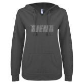 ENZA Ladies Dark Heather V Notch Raw Edge Fleece Hoodie-Siena Graphite Soft Glitter