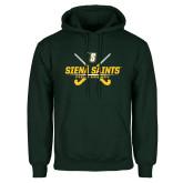 Dark Green Fleece Hood-Field Hockey Crossed Sticks
