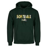 Dark Green Fleece Hood-Distressed Softball