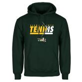 Dark Green Fleece Hood-Tennis Abstract Net