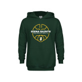 Youth Dark Green Fleece Hoodie-Basketball Court Design