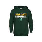 Youth Dark Green Fleece Hoodie-Siena Saints Basketball